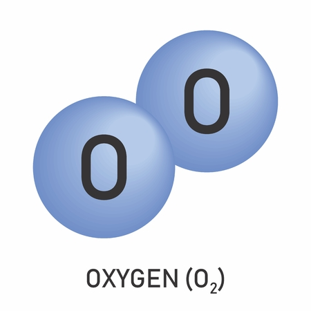 Illustration of the molecular formula of oxygen on white background