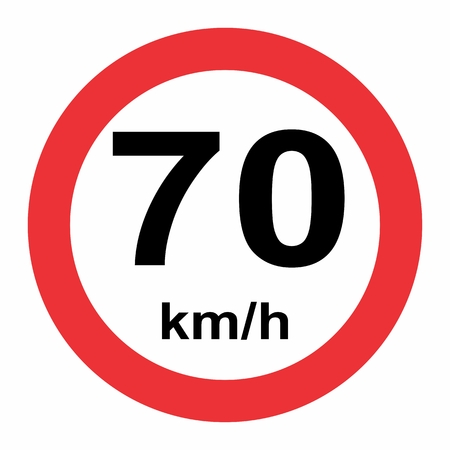 Illustration of Traffic Sign Speed limit 70 on white background Banque d'images - 123721377