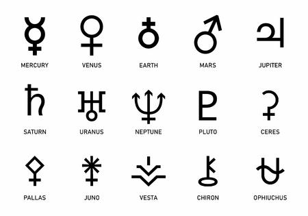 Set of planets symbols