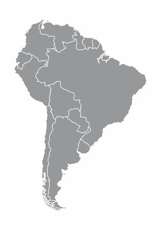 Ilustración de un mapa de América del Sur gris sobre fondo blanco.