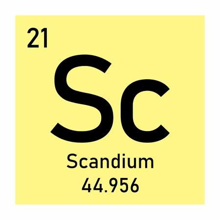 Illustration of Periodic table element Scandium icon on white background