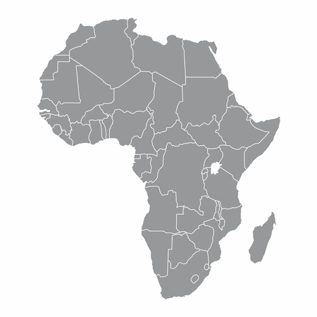 Africa gray map with countries borders on white background