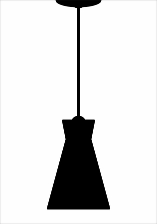 A Lighting fixture dark silhouette isolated on white background