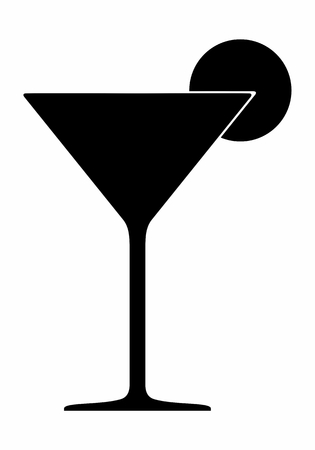 A Cocktail glass dark silhouette isolated on white background