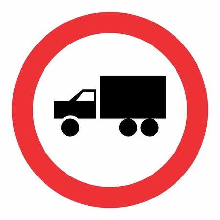 Illustration of Truck allowed traffic sign on white background
