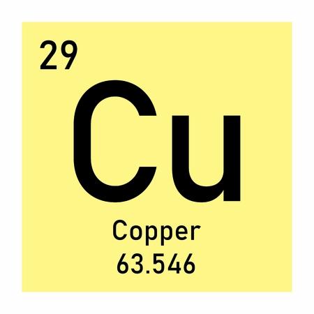 Periodic table element Copper icon on white background Ilustração