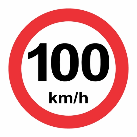 Illustration of Speed limit 100 kmh traffic sign on white background