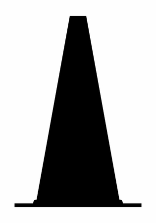 Traffic cone dark silhouette isolated on white background