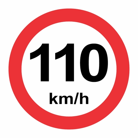 Illustration of Speed limit 110 kmh traffic sign on white background