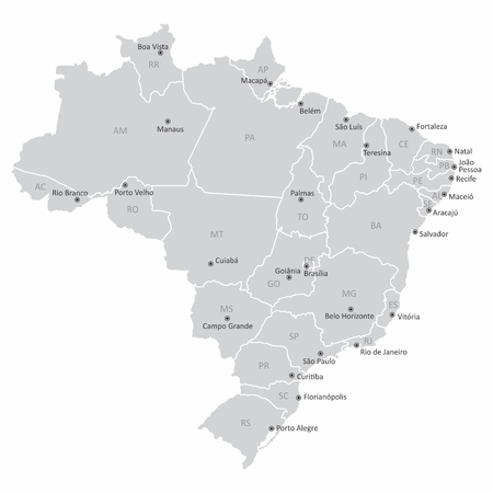 Map of Brazil with states and capitals