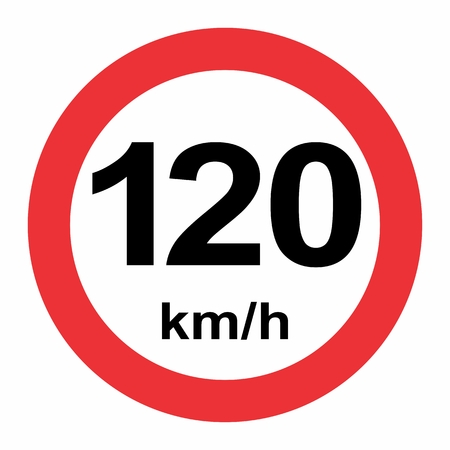 Illustration of Speed limit 120 kmh traffic sign on white background