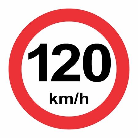 Illustration of Speed limit 120 kmh traffic sign on white background Illustration