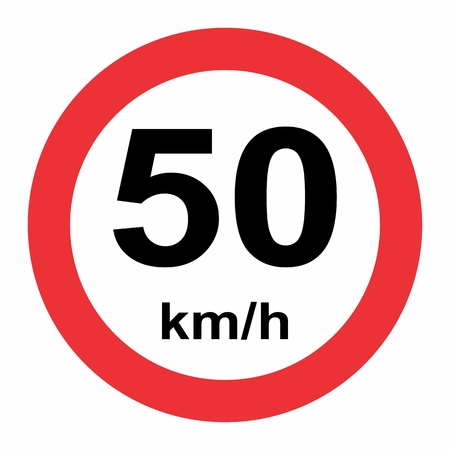 Illustration of Speed limit 50 kmh traffic sign on white background Banque d'images - 124645530