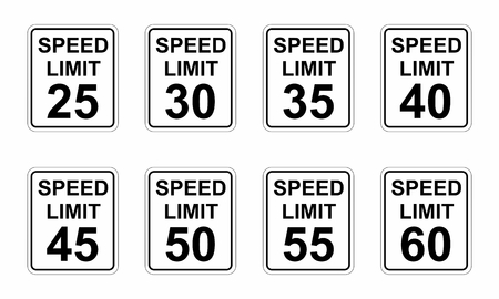 A set of different Speed limit road signs