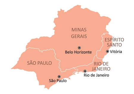 Map of the Brazil southeast region isolated on white background