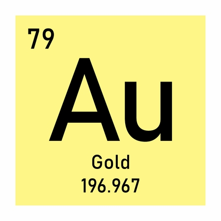 Illustration of the periodic table Gold chemical symbol
