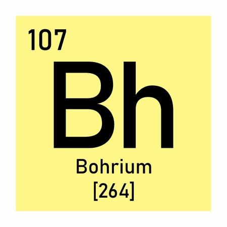 Illustration of the periodic table Bohrium chemical symbol Banco de Imagens - 124719566