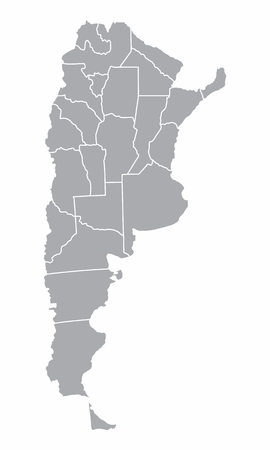 A gray map of Argentina divided into provinces