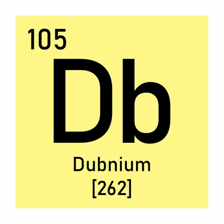 Illustration of the periodic table Dubnium chemical symbol Banco de Imagens - 124719773
