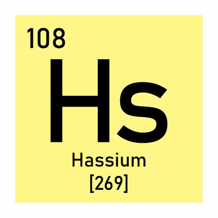 Illustration of the periodic table Hassium chemical symbol