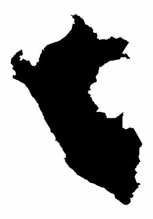 Peru map dark silhouette isolated on white background
