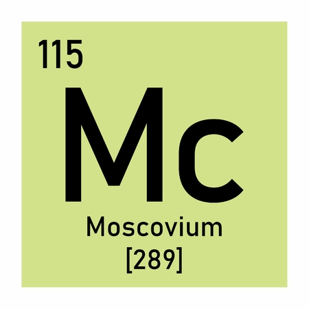 Illustration of the periodic table Moscovium chemical symbol