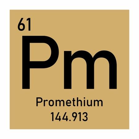 Illustration of the periodic table Promethium chemical symbol Banco de Imagens - 124236651