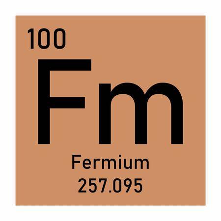 Illustration of the periodic table Fermium chemical symbol Ilustração