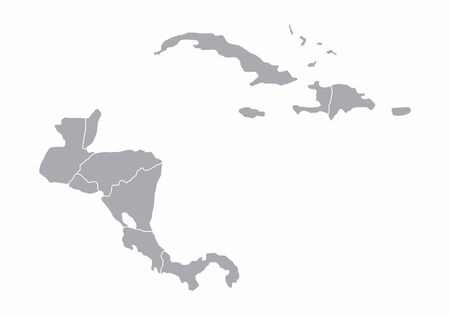 Central America gray map Illustration