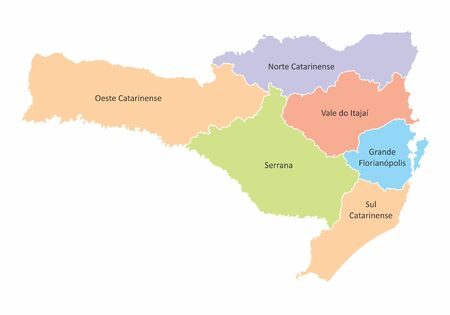 A colorful map of Santa Catarina State divided into regions, Brazil  イラスト・ベクター素材