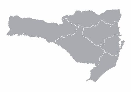 A gray map of Santa Catarina State divided into regions, Brazil  イラスト・ベクター素材