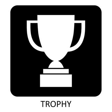 Trophy icon illustration on the dark background  イラスト・ベクター素材
