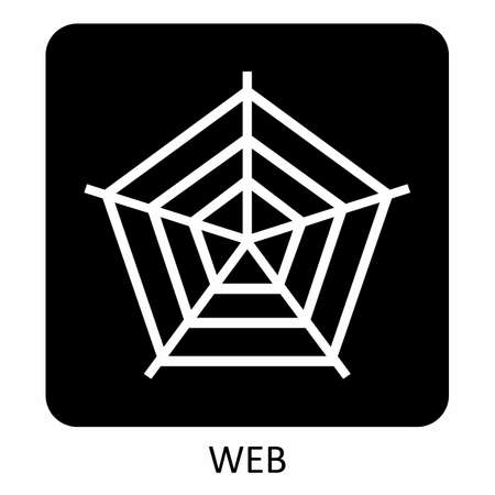 Spider web icon illustration on dark background