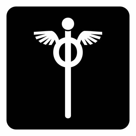 A black and white Staff of Hermes icon  イラスト・ベクター素材
