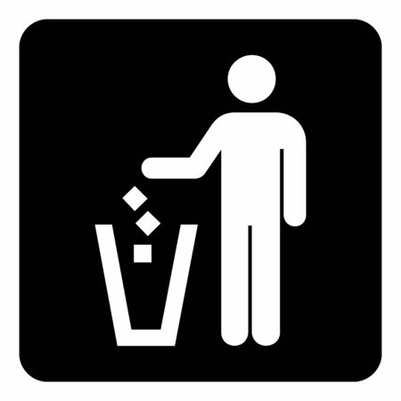 A black and white Put litter icon
