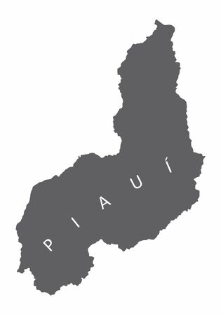 Piaui State silhouette map isolated on white background, Brazil