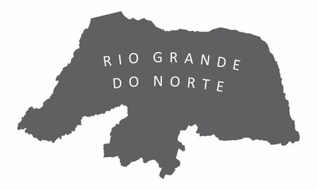 Rio Grande do Norte State silhouette map isolated on white background, Brazil