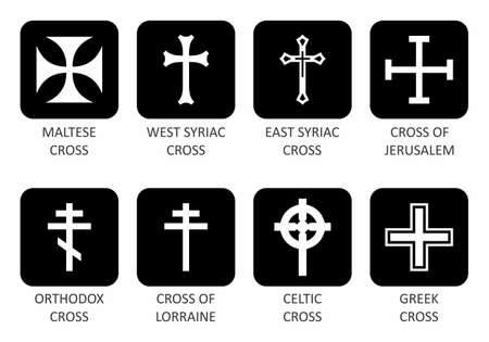 Illustration of a set of different crosses types