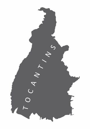 Tocantins State silhouette map isolated on white background, Brazil