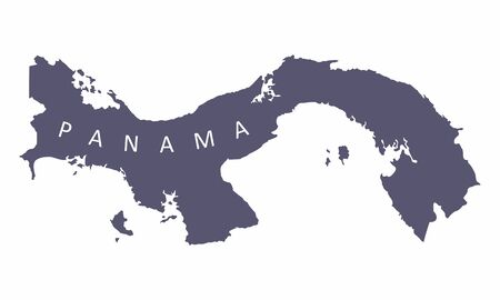 Panama silhouette map isolated on white background  イラスト・ベクター素材