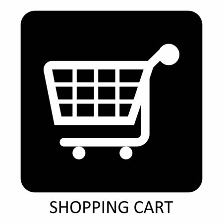 A black and white Shopping cart icon  イラスト・ベクター素材