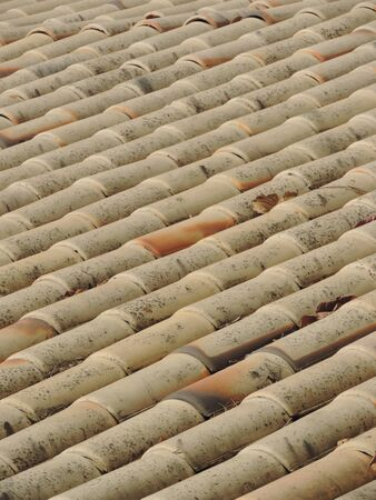 Details and texture of a Clay tiles roof 写真素材