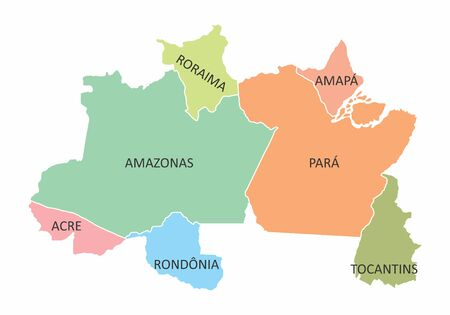 A colorful Map of the Brazil north region isolated on white background