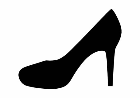 Woman shoe dark silhouette isolated on white background Ilustração