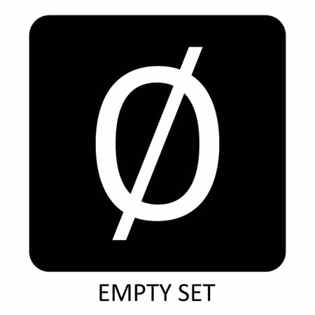 A black and white Empty set math icon Ilustração
