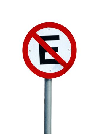 No parking sign isolated on white background. Brazilian traffic sign. Stok Fotoğraf