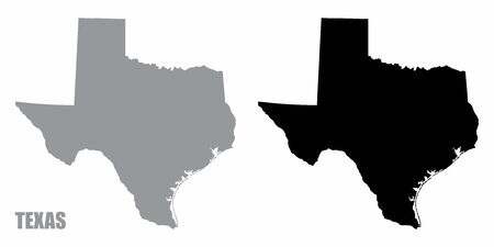 Texas silhouette maps isolated on white background