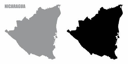 Nicaragua silhouette maps isolated on white background
