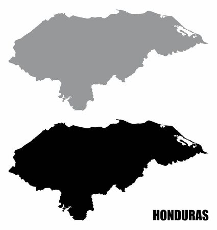 Honduras silhouette maps isolated on white background