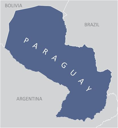 The Paraguay region map in South America